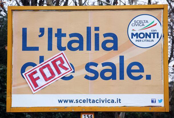 """ELEZIONI: MANIFESTO MONTI MODIFICATO """"ITALIA FOR SALE"""""""